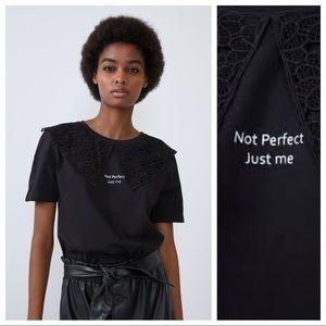 NWT. Zara Cotton Black Top. Size M.